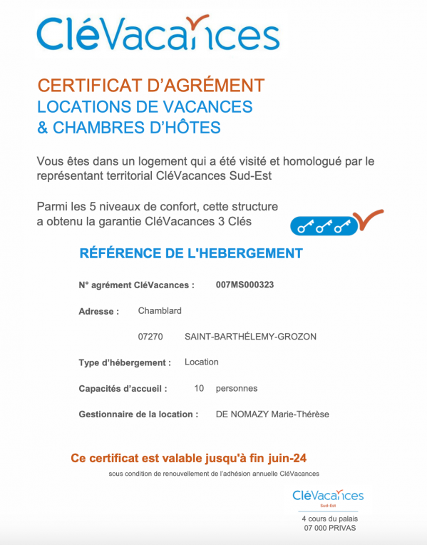 Certification cle vacances
